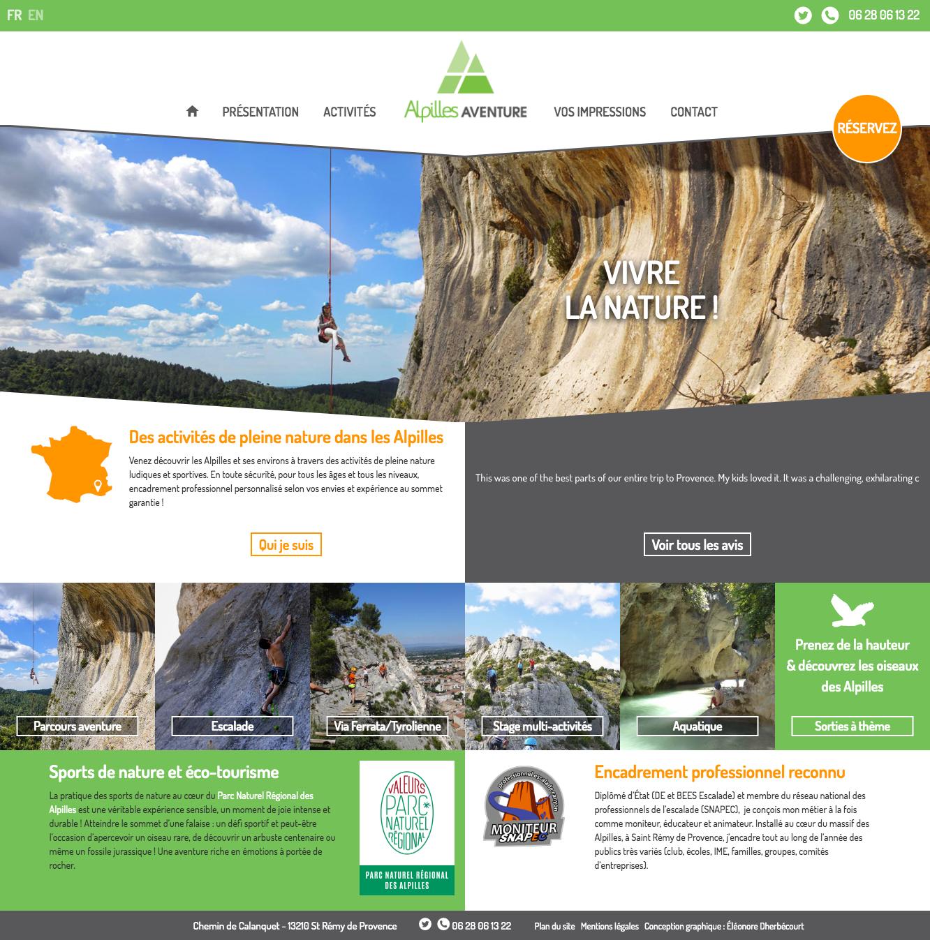 Page accueil site vitrine Alpilles Aventure pour ordinateur